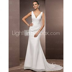 [USD $ 178.19]  Trumpet/Mermaid V-neck Court Train Chiffon Wedding Dress