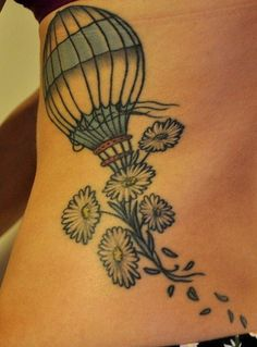 balloon, ballooning, flores, flowers, globo aerostatico.rib side tattoo for fashion girls.  #tattoo #design #girls www.loveitsomuch.com