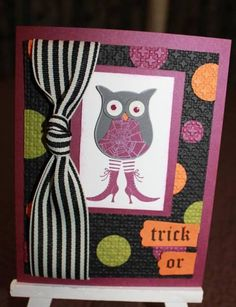 owl trick/cupcake treat by plains stamper - Cards and Paper Crafts at Splitcoaststampers