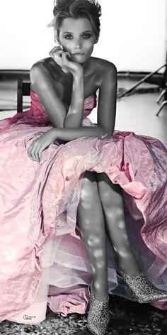BALLROOM BLITZ Publication: Vogue Australia April 2014 Model: Abbey Lee Kershaw Photographer: Will Davidson Fashion Editor: Christine Centenera Hair: Alan White Make-up: Linda Jefferyes Abbey Lee Kershaw, Vogue Australia, Glamour, Color Splash, Color Pop, Pink Color, Colour, Gris Rose, Everything Pink