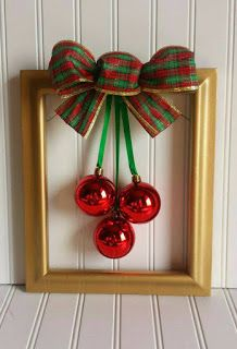 Christmas Picture Frame Wreath by OddsNEndsbyAly on Etsy Christmas Projects, Holiday Crafts, Christmas Holidays, Christmas Wreaths, Christmas Gifts, Christmas Decorations, Christmas Ornaments, Red Ornaments, Ornament Wreath