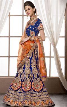 Iconic Navy Blue Designer Bridal Lehenga Choli