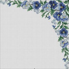 Crochet Flower Patterns, Crochet Flowers, Cross Stitch Designs, Cross Stitch Patterns, Decorative Tile, Cross Stitch Flowers, Craft Patterns, Pansies, Cross Stitch Embroidery