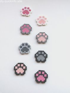 Dog Paws Cat Paw Magnet Donation for Animals Pixel art 8 bit bit magnet . - Dog Paw Cat Paw Magnet Donation for Animals Pixel Art 8 Bit Magnet Animal Paw Magnet Hama Pearl Paw - Perler Bead Designs, Easy Perler Bead Patterns, Melty Bead Patterns, Hama Beads Design, Perler Bead Templates, Diy Perler Beads, Perler Bead Art, Beading Patterns, Pearler Beads