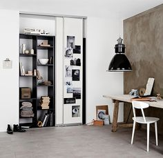 Work space storage in a closet with sliding doors