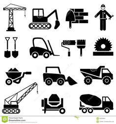 pictograms on the machines | Construction and industrial machinery icon set.