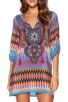 Tribal Print V Neck Half Sleeve Dress- I'd use as swimsuit cover