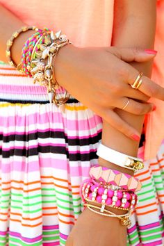 """Eye-Popping Arm Party with """"Spikes"""" Cool bracelets!"""