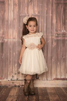 Ivory Beige Chiffon Flower Girl Dress - Rustic Wedding - Country Dress - Ava Madison Boutique
