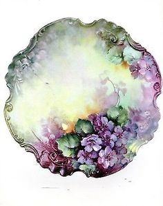 #78 Double Violets China Painting Study by Sonie Ames 1976