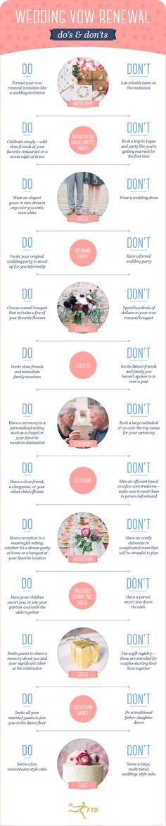 Vow Renewal Guide: 17 Rules and Tips To Follow - Fresh by FTD... There are a few of these that I feel would be okay to break.