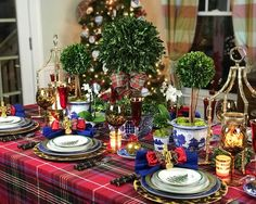 Pre-Set for the On-Set. all of my favorite things on one table. All that's needed now is for family to arrive and the magic to happen. Tartan Christmas, Spode Christmas Tree, Christmas Tablescapes, Blue Christmas, Christmas Holidays, Christmas Ornaments, Christmas Ideas, Happy Holidays, Holiday Ideas