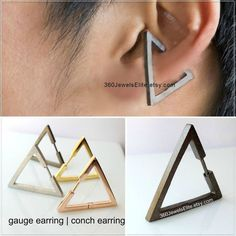 Conch Earring Triangle - Gauge Earring - Ear Cartilage Piercing - Customization Available - pin - Single Earring Piercing Conch, Faux Piercing, Conch Earring, Ear Piercings, Lobe, Or Noir, Plugs Earrings, Argent Sterling, Sterling Silver