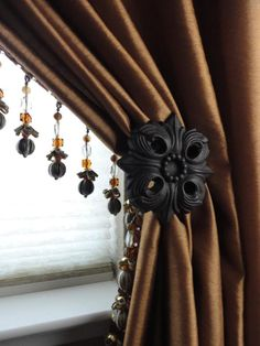 Drapery Panel with lead edge bead trim and wrought iron decorative holdback. Curtains And Draperies, Home Curtains, Drapery Panels, Curtain Call, Curtain Tie Backs, Window Coverings, Window Treatments, Wrought Iron Decor, Beautiful Curtains