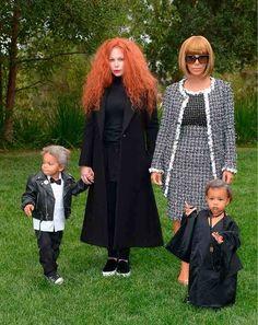 The Kardashians do US Vogue: Kim Kardashian as editor Anna Wintour, North as contributing editor André Leon Talley and Kim's make-up artist Joyce Bonelli as creative director Grace Coddington. Plus, Joyce's son as a mini Karl Lagerfeld.