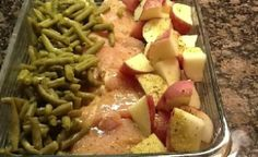 "Food: Main Dish / A friend of mine brought me this when I had surgery.  Now it is my ""go to"" dish for taking to people who have had babies, surgery, etc.  4-6 raw chicken breasts, new potatoes, green beans (fresh or canned-really any green veggie would work. Broccoli is good, too).  Arrange in 9×13 dish.  Sprinkle with a packet of Italian dressing mix and then top with a melted stick of butter.  Cover with foil and bake at 350 degrees for 1 hour.  Enjoy!"