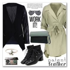 """""""Work Wear"""" by jecakns ❤ liked on Polyvore featuring WorkWear, Elegant, shirtdress, patentleather and zaful"""
