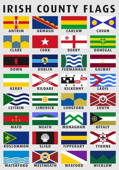 ---Irlanda senyeres per comtats--- --Flags of the Counties of Ireland redesign [OC] County Flags, Irish Language, Irish Pride, Celtic Pride, Irish Culture, Irish Quotes, Irish Blessing, Irish Celtic, Irish Eyes