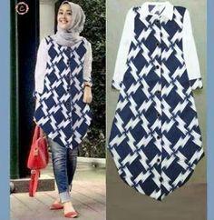 baju batik tunik katun rayon Blouse Batik, Batik Dress, Blouse Dress, Batik Fashion, Abaya Fashion, Fashion Outfits, Batik Muslim, Outer Batik, Batik Pattern