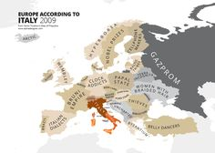 Europe according to Italy Atlas of Prejudice – A Complete Guide To National Stereotypes | Drungli Blog - - Means Good Bye