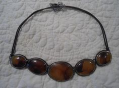 Amber Statement Necklace Faux Amber Leather egl ooak rococo southwest hippie boho sundance style jewelry rustic jewelry by LandofBridget