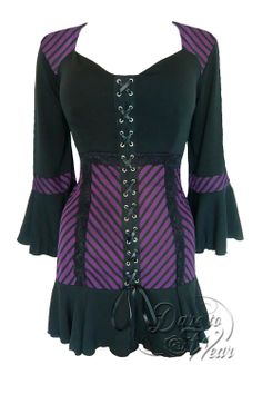 Dare to Wear Gothic and Victorian plus size Cabaret corset top in black and purple stripes with black lace