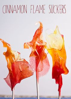 perfect for candy fire, these cinnamon candy suckers in three colors and pulled into the shape of flames