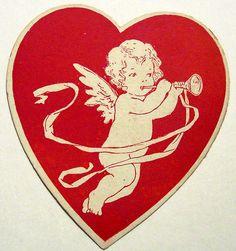 ♡ Your Heart is Mine, Valentine ♡ vintage cupid heart Valentine Images, Vintage Valentine Cards, My Funny Valentine, Vintage Cards, Vintage Images, Happy Valentines Day, Vintage Postcards, Valentine Cupid, Vintage Ephemera