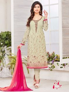 Design and pattern could be at the peak of your magnificence when you attire this Beige Georgette Unstitched Salwar Kameez. The lovely Resham & Butta Work work a substantial attribute of this attire.