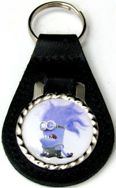 Evil Minion Purple Black Genuine Leather Key Fob With Steel Ring FOB-0273