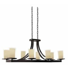 DVI Lighting DVP9032 Essex Special Edition 8 Light Single Tier Linear Chandelier (up lighting - oil rubbed bronze with butterscotch glass - incandescent,compact fluorescent - 100)