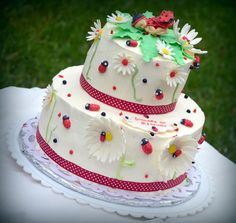 lady bug themed baby shower cake