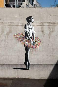 ^Ballerina black and white rainbow tutu street art Martin Whatson - Oslo, Norway