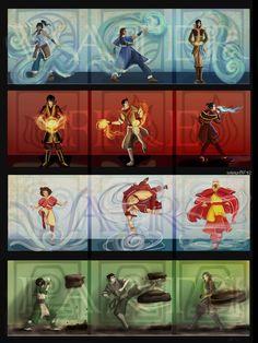 Elements: Korra, Katara, Tahno, Zuko, Mako, Azula, Jinora, Aang, Tenzin, Toph, Bolin, LinBeiFong.