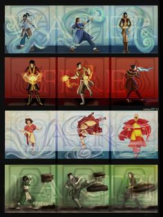 avatar the legend of zuko | Elements: Korra, Katara, Tahno, Zuko, Mako, Azula, Jinora, Aang ...