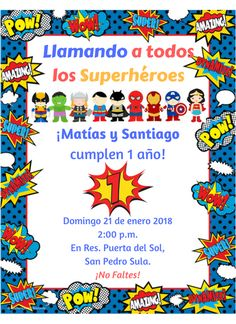 Tarjeta de invitación de superheroes primer cumpleaños de mis gemelos Matías y Santiago Superhero Cartoon, Baby Superhero, Superhero Birthday Party, 3rd Birthday, Justice League Party, Avengers Birthday Cakes, Wonder Woman Party, Birthday Party Invitations, Party Time
