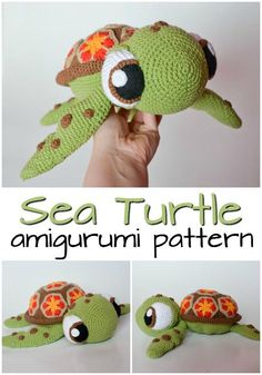 Patterns Amigurumi Adorable Squirt the turtle-inspired crochet pattern looks just like the turtle from Finding Nemo! Love this amigurumi pattern! So adorable! Crochet Animal Patterns, Stuffed Animal Patterns, Crochet Patterns Amigurumi, Crochet Dolls, Crochet Stitches, Crochet Turtle Pattern Free, Disney Crochet Patterns, Crochet Stuffed Animals, Crochet Animals