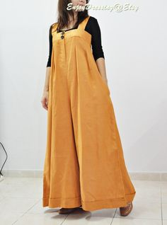 Overall orange tea.. Linen maxi Pants,Jump suit. $47.00, via Etsy.