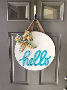 Door Hanger Hello Front Decor Sign Porch Bright