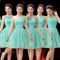 """Encontrar M??s Vestidos de Damas de Honor Informaci??n acerca de Country style turquesa verde gasa de damas de honor dama de honor dulce ni??as corto novias vestidos para ocasiones especiales C3465, alta calidad vestido de la franja, China vestido de uniforme Proveedores, barato vestir ropa de dormir de ISA'S HAPPY TIME en <a href=""""http://Aliexpress.com"""" rel=""""nofollow"""" target=""""_blank"""">Aliexpress.com</a>"""