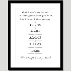 I Thought Loved You Then Print Special Dates With Lyrics By Brad Paisley