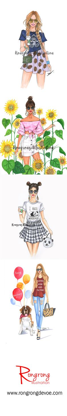 Rongrong DeVoe fashion sketches inspired by street fashionistas