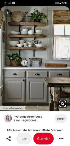 Black Kitchen Cabinets, Farmhouse Kitchen Cabinets, Painting Kitchen Cabinets, Gray Cabinets, Farmhouse Decor, Farmhouse Shelving, Farmhouse Kitchens, Rustic Country Kitchens, Country Kitchen Designs