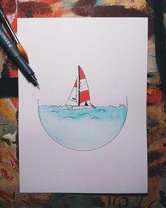 He is Alone but he's not hurry ⛵ #watercolor #acuarela #sailboat #moleskine #illust #illustration #ilustracion #pendraw #draw #illustrator #instart #pintura #drawing #dibujo #handdrawing #sketch #sketckbook #sea  #artofinstagram #art #artgram #handmade #painting #doodle #instadoodle #artcollective #artoftheday