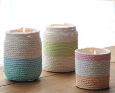 Wrap glass-covered candles in rope to dress up an everyday candle. Use watercolor paint to add stripes. It's a great diy gift to give mom on mother's day! @michaelsstores