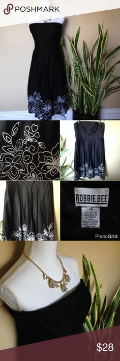 """Little Black Dress w/ Floral Embroidery Beautiful pleated strapless dress with floral embroidery. Back zipper. Fully lined. No stains, snags or tears. In great condition. Perfect for outdoor summer events.  Waist: 36""""/ chest: 38""""/ length: 36"""". dry clean only. Robbie Bee Dresses Strapless"""