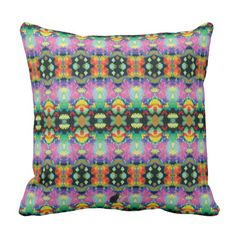 "Rest yourself on this exotic pillow and be transported to a parallel universe that is extraordinarily symmetrical. The colorful & unique design will be a bold addition to your décor. The origination image is from my Kinetic Collage ""Sweet Dreams"" series of psychedelic light show photos. Over 3000 products at my Zazzle online store. Open 24/7  World wide! Custom one-of-a-kind items shipped to your door. This design is exclusively @  http://www.zazzle.com/greg_lloyd_arts*?rf=238198296477835081"