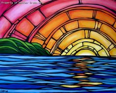 """$6 ($16 with shipping) - Juicy Sunset 5""""x7"""" Heather Brown art greeting card with envelope --- too poor to buy any of her original pieces but we saw her surf art in Hawaii and fell in love. one day we will have one of her pieces on our wall!! :)"""
