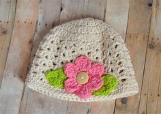 Crochet Baby  Toddler Beige Off white Baby Girl Crochet Granny Style Hat with Flower. Ready to Ship