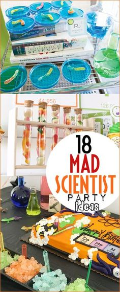 Rad Mad Scientist Party Ideas. Awesome ways to celebrate your little science birthday. Cool experiments, party decor and treats for kids. Scientist themed party for boys and girls.